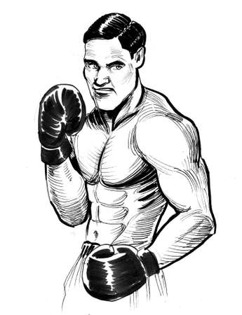 Boxer in boxing stance. Ink black and white drawing