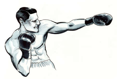 Boxing man. Ink and watercolor illustration