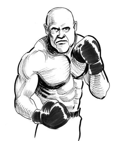 Big bald boxer. Ink black and white drawing 版權商用圖片