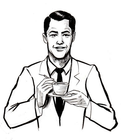 Man drinking a cup of coffee. Ink black and white drawing 版權商用圖片