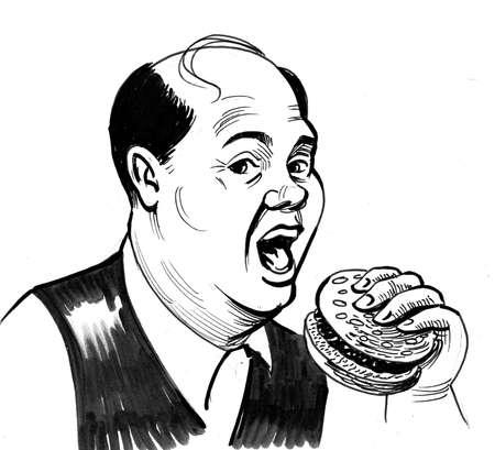 Fat bald man eating a burger. Ink black and white drawing 版權商用圖片