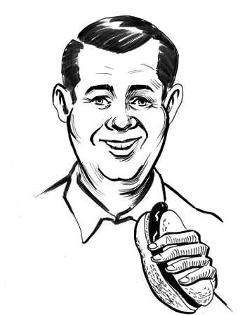 Happy smiling man eating hot dog drawing on white 版權商用圖片