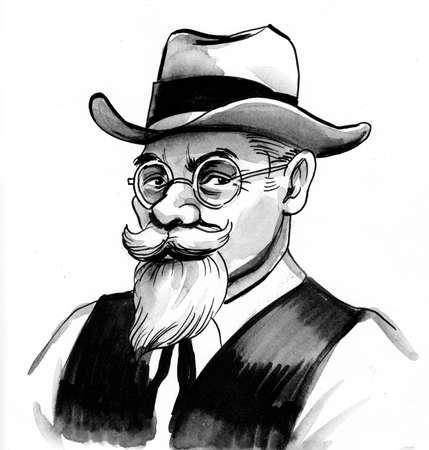 Senior gentleman in hat drawing on white Zdjęcie Seryjne