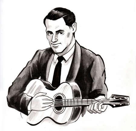 Man playing guitar drawing on white