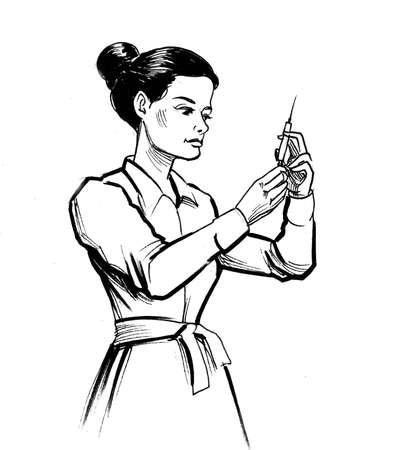 Female nurse with syringe drawing on white Zdjęcie Seryjne