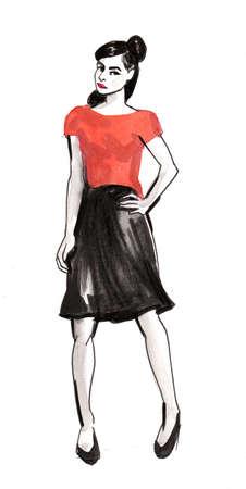 Fashion model in red top and black skirt. Zdjęcie Seryjne