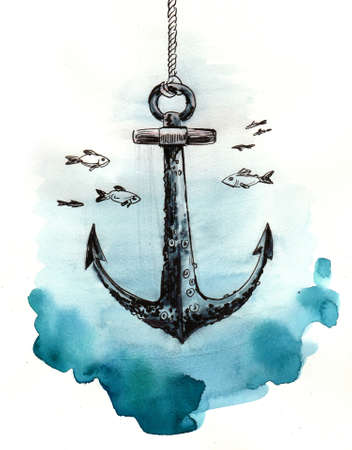 Old anchor under water with fishes. Ink and watercolor illustration