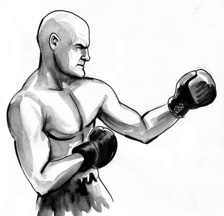 Boxer Ink and watercolor black and white drawing