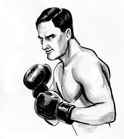 Boxing man drawing on white