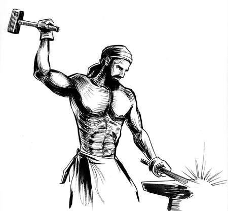 Working blacksmith drawing on white