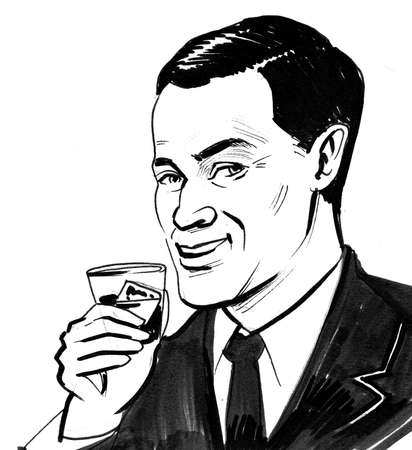 Handsome man drinking a glass of whiskey drawing on white