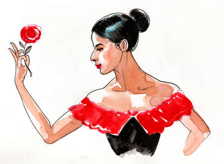 Beautiful Flamenco dancer with a red flower drawing on white 版權商用圖片