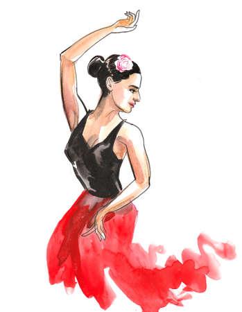 Beautiful Flamenco dancer drawing on white 版權商用圖片