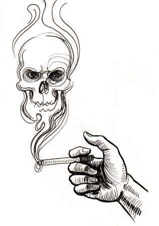 Hand with a cigarette and skull in smoke. Ink black and white drawing