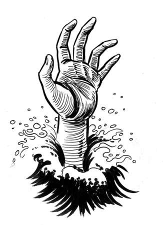 Drowned hand. Ink black and white drawing
