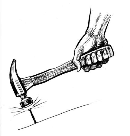 Hand with hammer hitting nail. Ink black and white drawing