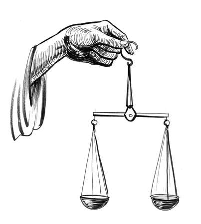 Justice hand with scales. Ink black and white drawing
