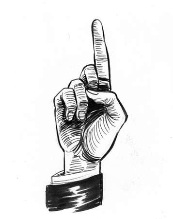 Hand pointing up. Ink black and white drawing
