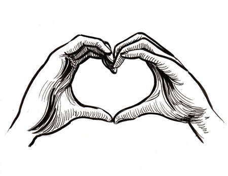 Hands making heart sign. Ink black and white drawing Zdjęcie Seryjne