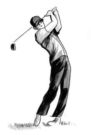 Man playing golf. Ink black and white drawing Zdjęcie Seryjne