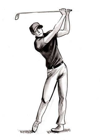 Golfer with a club. Ink black and white drawing
