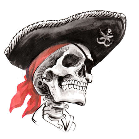 Dead pirate captain. Ink and watercolor illustration