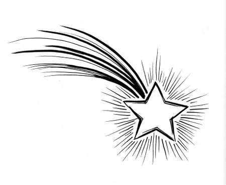 Étoile filante. Dessin à l'encre noir et blanc Banque d'images