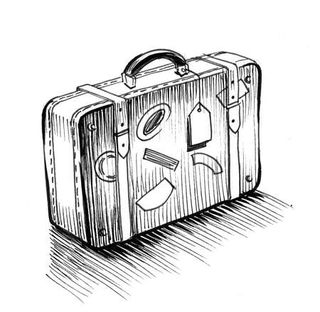 Old suitcase with stickers. Ink black and white drawing Zdjęcie Seryjne