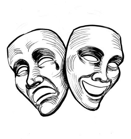 Theater masks. Ink black and white drawings