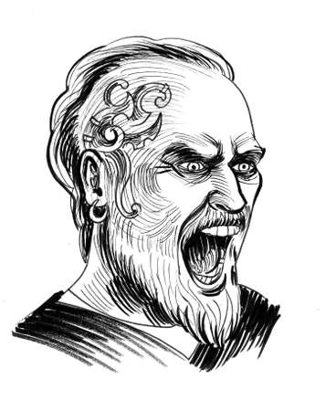 Angry viking. Ink black and white drawing