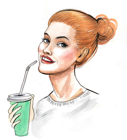 Pretty woman drinking with a straw. Ink and watercolor illustration