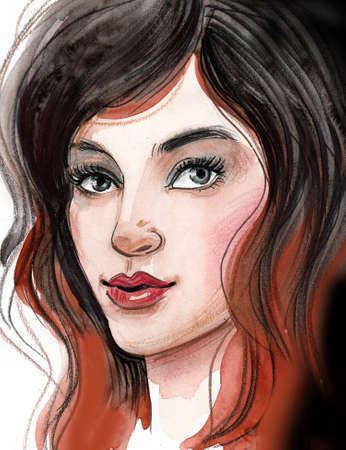 Pretty woman face. Ink and watercolor illustration