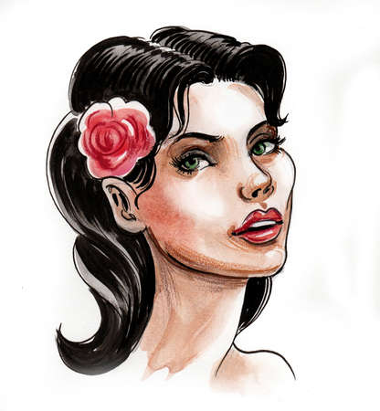 Pretty woman with a red rose flower in her hair. Ink and watercolor illustration