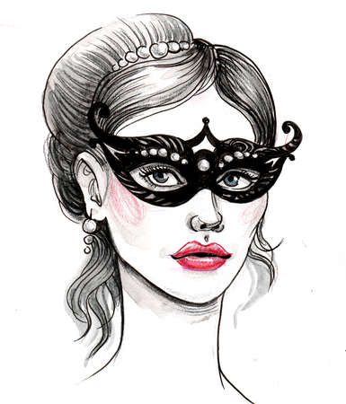 Pretty woman in mask. Ink and watercolor illustration Zdjęcie Seryjne