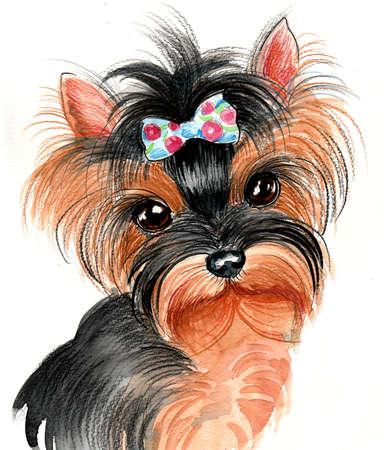 Dog portrait. Ink and watercolor illustration Zdjęcie Seryjne