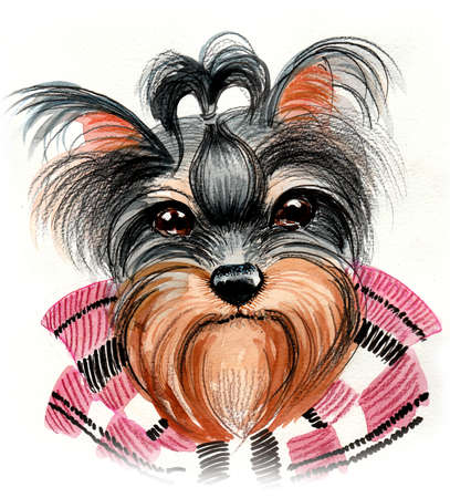 Cute dog. Ink and watercolor illustration