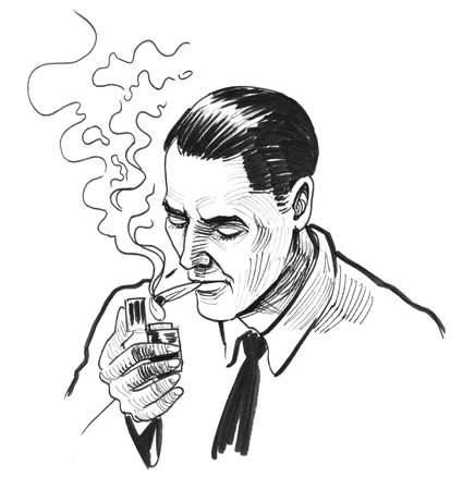 Gentleman lighting a cigarette with a lighter. Ink black and white drawing