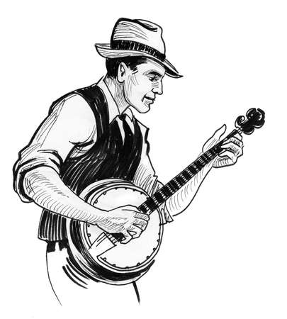 Country musician playing banjo. Ink black and white drawing 写真素材