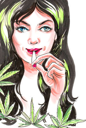 Pretty lady smoking marijuana joint. Ink and watercolor illustration