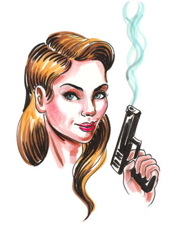 Pretty woman with a smoking gun. Ink and watercolor illustration