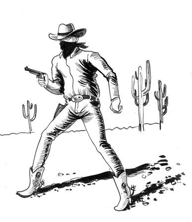 Cowboy with a gun in the desert. ink black and white drawing