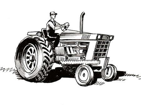 Farmer on tractor. Ink black and white drawing Zdjęcie Seryjne