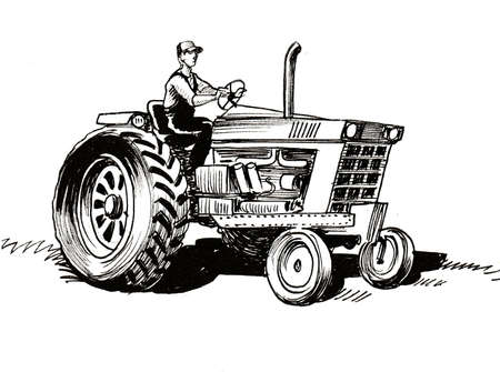 Farmer on tractor. Ink black and white drawing Reklamní fotografie