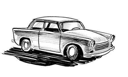Vintage European automobile. Ink black and white drawing Zdjęcie Seryjne
