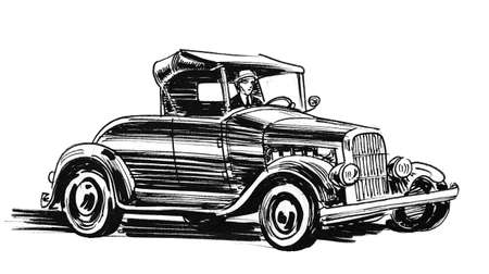 Retro classic car. Ink black and whit edrawing