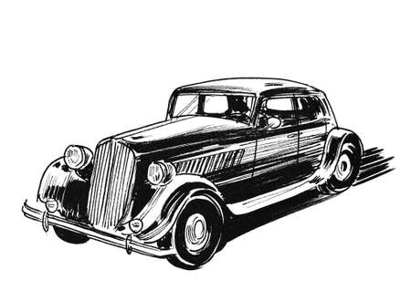 Retro luxury car. Ink black and white drawing