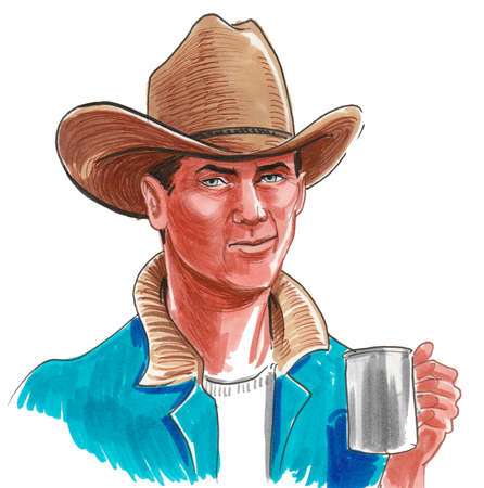 American cowboy in hat with a cup of coffee. Ink and watercolor drawing Zdjęcie Seryjne