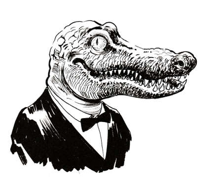 Cool alligator in suit. Ink black and white drawing