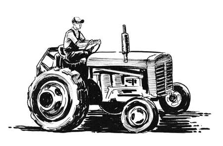 Farmer on retro tractor. Ink black and white drawing