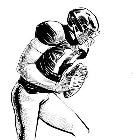 American football player. Ink black and white drawing Zdjęcie Seryjne
